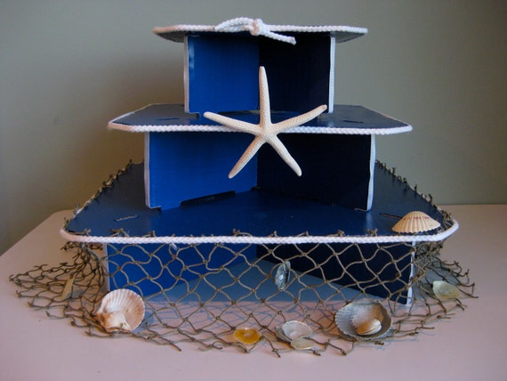 Nautical Beach Style Three Tiered Cupcake Stand for Weddings and Birthdays