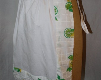 Vintage Lemon-Print Cotton Apron