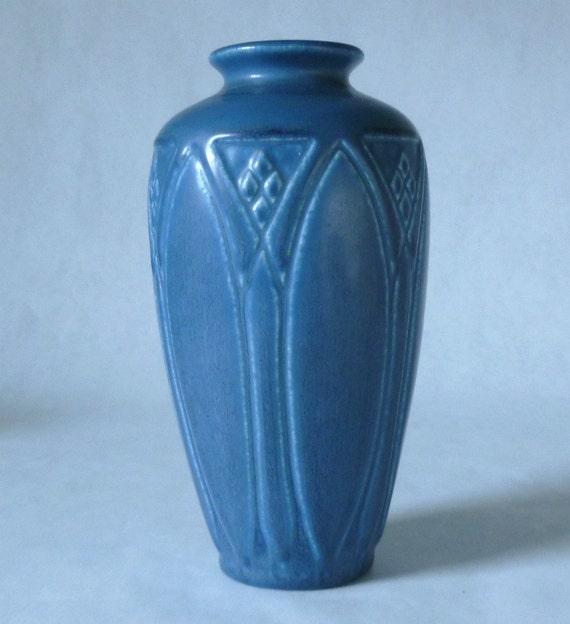 "SALE - Rookwood Pottery  1929 7"" Tall  Matt Blue Vase with impressed leaf design No 2412"