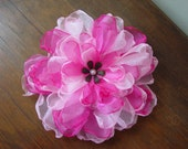 Beautiful Hand-cut, Heat-singed, Fushia and Pink Organza Flower