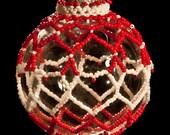 "White Heart beaded Christmas ornament wrap PATTERN 2.5"" bulb"
