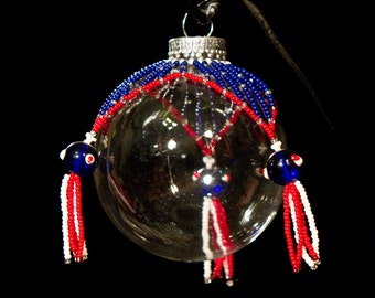 "The Rocket's Red Glare unique hand beaded Christmas ornament wrap 2.5"" bulb"