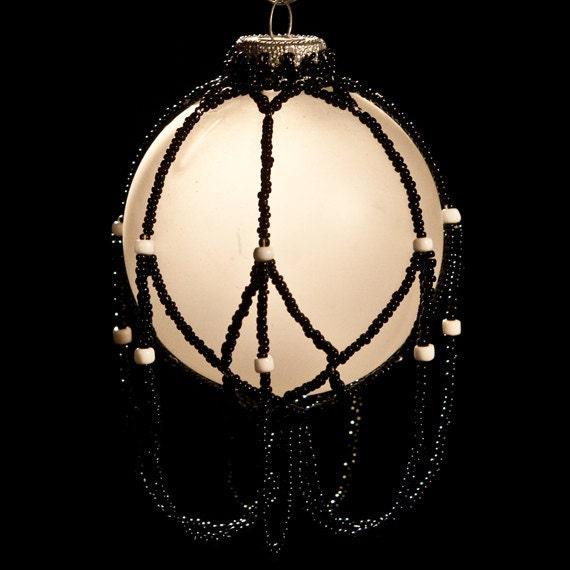 "Timeless Black hand beaded Christmas ornament wrap 2.5"" bulb"