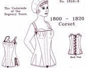 Regency Corset: Multi Sized Sewing Pattern for 1800 - 1820 - 1810-3, by the Mantua Maker