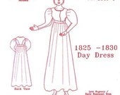 Late Regency Day Dress Multi Size Historical Sewing Pattern for 1825 - 1830, 1820-1