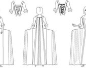 Georgian Robe Pattern: French Style Gown Multi Size Historical Sewing Pattern, 1700-7