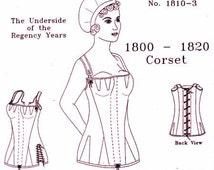 Regency Corset: Multi Sized Sewing Pattern for 1800 - 1820 - 1810-3, by the Mantua Maker