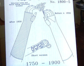 Fingerless Mittens / Gloves Historical Sewing Pattern for 1750 - 1900, 1800-5