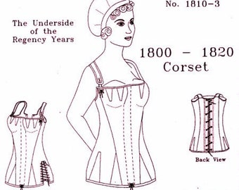 Regency Corset Pattern: Multi Sized Historical Sewing Pattern for 1800 - 1820, 1810-3