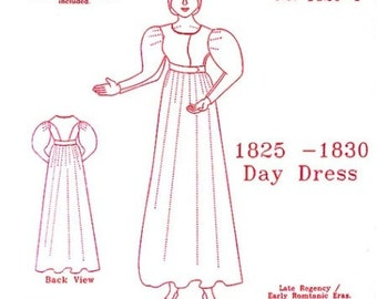 Late Regency Day Dress Multi Size Historical Sewing Pattern for 1825 - 1830, by the Mantua Maker. 1820-1