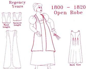 Regency Sewing Pattern: Open Robe / Dress Multi Size Pattern for 1795 - 1820, 1810-2