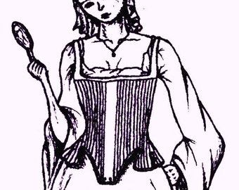 Elizabethan Corset Pattern: Quilted Pair of Bodies Multi Size Historical Sewing Pattern, 1500-4