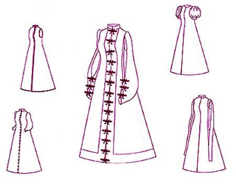 Renaissance Pattern: Spanish Loose Gown Multi Size Historical Sewing Pattern, 1500-2