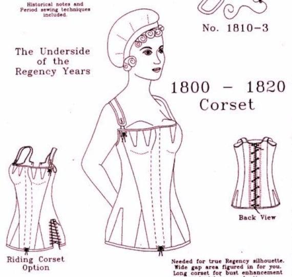 Patrón de corsé Regencia: Multi tamaño patrón histórico coser