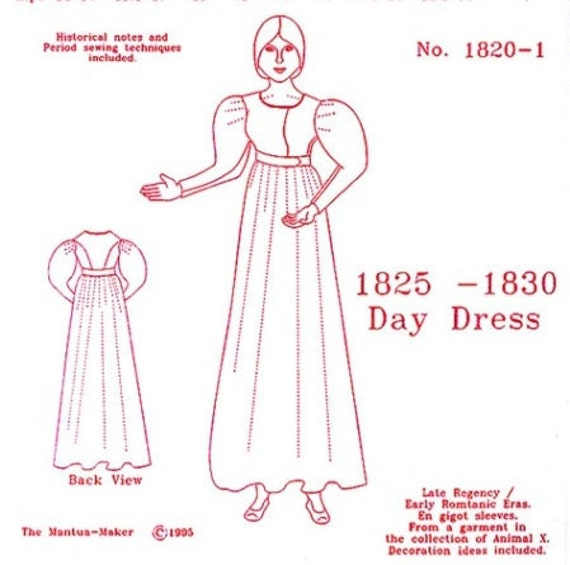 Late Regency Day Dress Multi Size Historical Sewing Pattern for 1825 - 1830, 1820-1, by the Mantua Maker