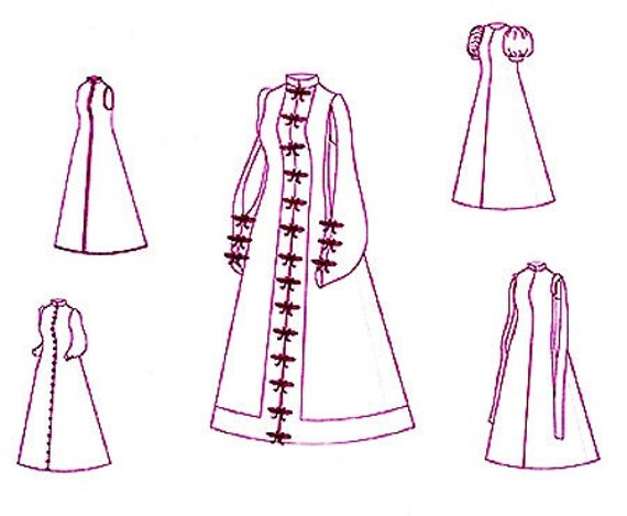 Renaissance Pattern: Spanish Loose Gown Historical Multi Size Sewing Pattern, 1500-2, by the Mantua Maker