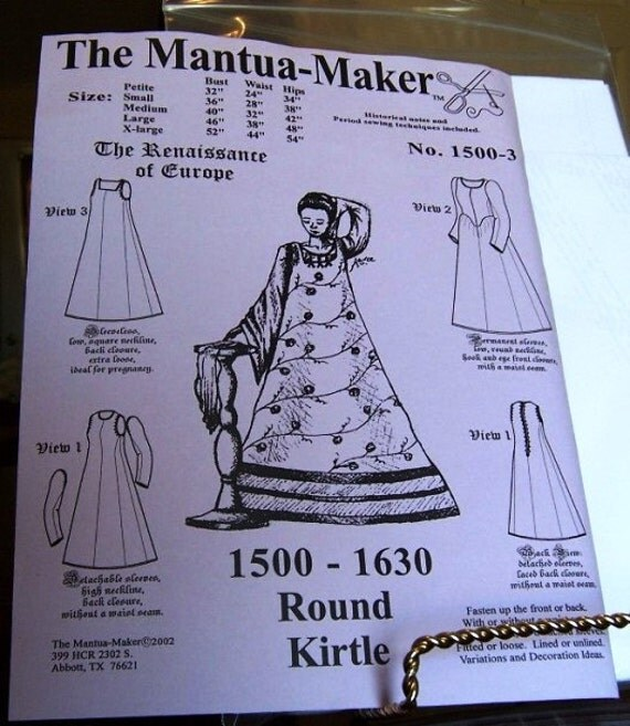 Elizabethan Pattern: Round Kirtle Mulit Size Historical Sewing Pattern for 1500 - 1630, 1500-3, by the Mantua Maker