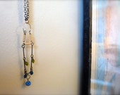 Beautiful earth tones, blue and green bead and chain necklace. Delicate, classic and modern vintage.