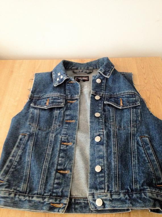 Punk Rock Jean Cut off Vest with Studs, Hand Made Vintage Vest- Sm/ Med/Lrg.