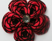 Flower Petal Bow--Red with Black Flock