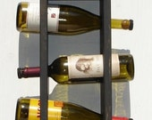 Wine Rack - Wall Hanging with shelf - Holds 4 Bottles - Rustic Black