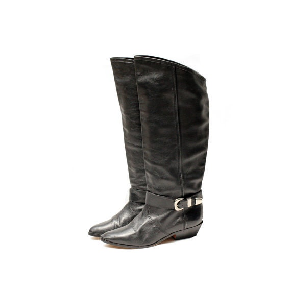 UNISA black leather tall boots size 6.5