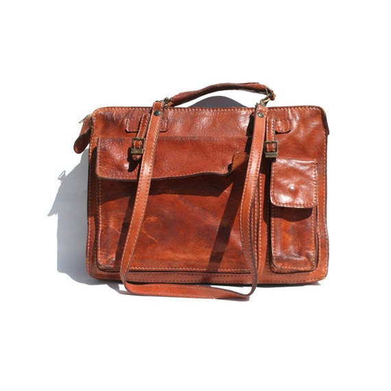 brown leather briefcase bag