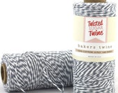 160 yards Gray and White Bakers Twine wound on a spool
