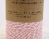 240 yards Pink and White Bakers Twine wound on a spool