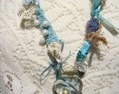 Mermaid's Treasures Aqua Blue Fabric and Bead Necklace