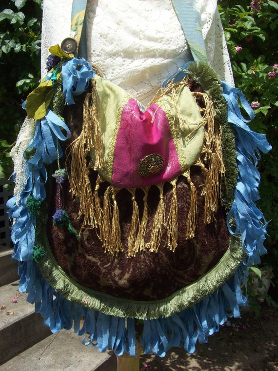 Bohemian Gypsy Hippie Blue Fringed Carpet Bag Tote Purse