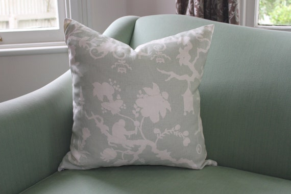 Schumacher Shantung Silhouette Cushion Covers in Mineral
