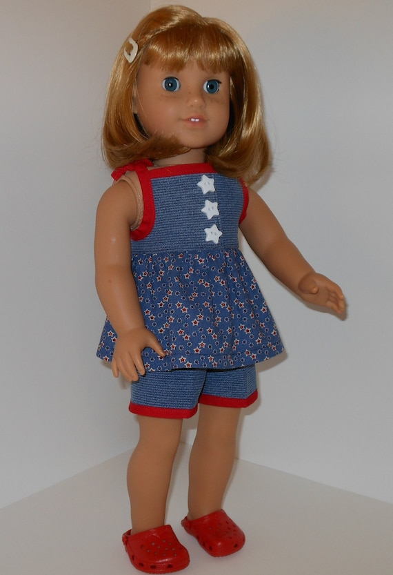 2 pc outfit with red, white and blue tunic, shorts and shoes for 18 inch dolls