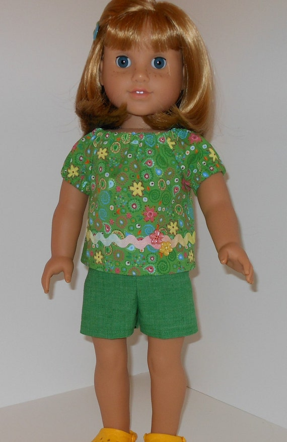 RESERVED  2 pc outfit with floral peasant style top and shorts for 18 inch dolls