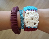 Fourth of July Crochet Granny Square Bracelet - Red, White, and Blue