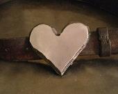 "Steel Heart Belt Buckle Raw Metal 1/4"" thick"