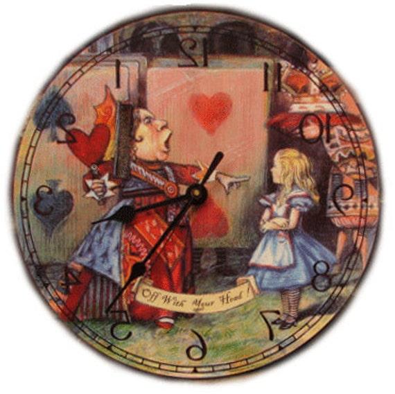 Alice in Wonderland Queen of Hearts  Backwards clock