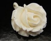 Elephant Ivory Flower Pendant. Pre-ban, vintage Estate piece. 1.5 inch diameter. Top quality piece.