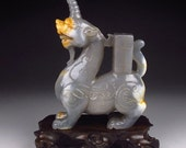 RESERVED for Suzanne. Chinese Hetian Jade carved Statue. Pixiu. Unicorn Dragon.