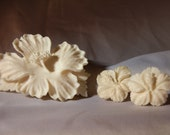 Real carved pre ban elephant Ivory Vintage brooch and screwback earring set. Hibiscus flowers.
