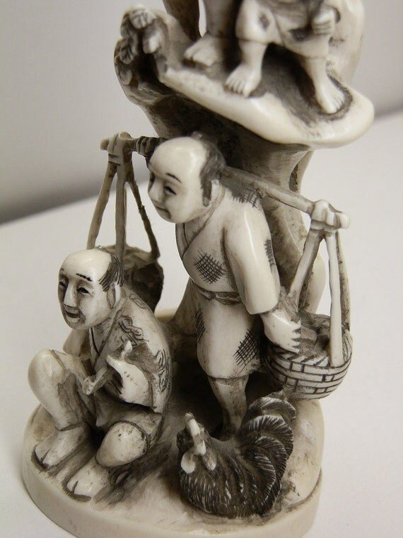 RESERVED for Suzanne. Antique Elephant Ivory carving of four Japanese villagers. Signed by artist. Pre ban.