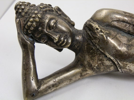 "Vintage Reclining Buddha Bronze statue. 7"" long. 278 grams."
