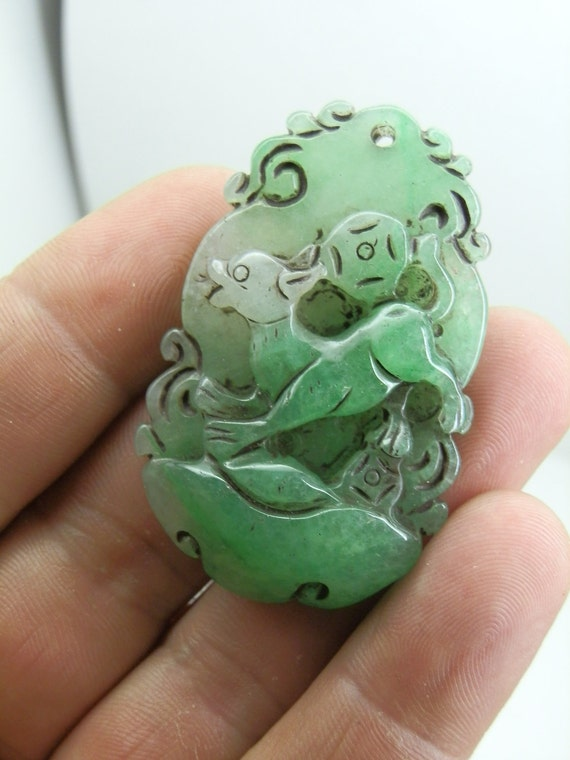 Vintage Green Jade Pendant carving. Dog and lucky coin.