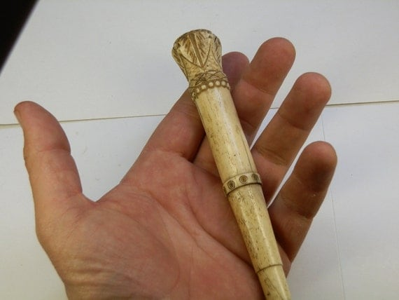 Antique Whale Bone handle carving. Maybe parasol, cane or walking stick. Maybe a Needle case.