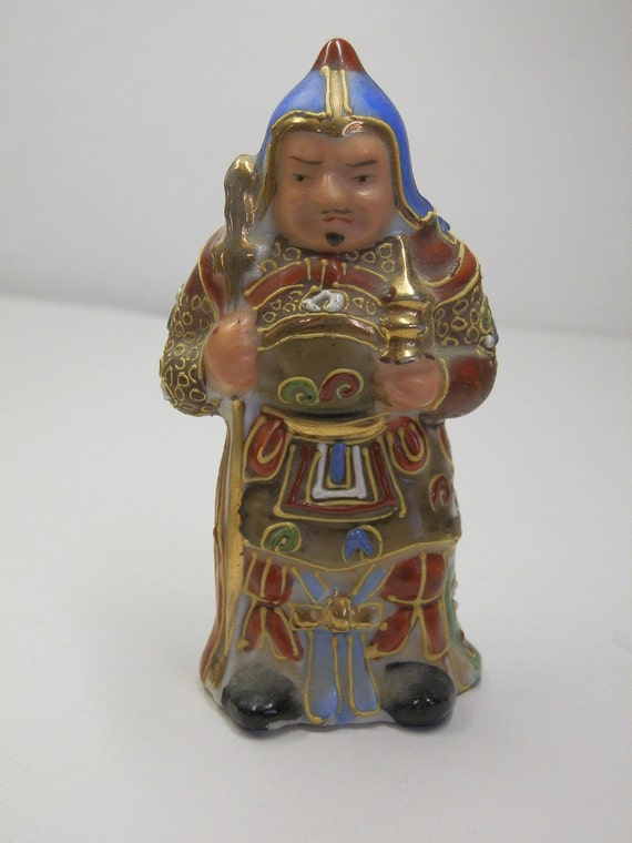 Vintage, signed Japanese Ceramic Lucky God. Seven Gods of Fortune