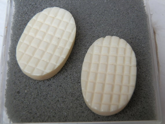 Carved Bone Cabochons. Matched Pair. 25x11mm