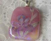 Dicroic Fused Glass Pendant-Fused Glass Jewelry-Fused Glass Necklace-Pink Dicroic Fused Glass