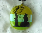 Dicroic Fused Glass Pendant Necklace, Fused Glass Cat Pendant