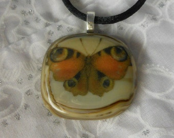 Fused Glass Pendant, Fused Glass Jewelry, Fused Glass Necklace, Butterfly Necklace