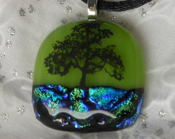 Dicroic Fused Glass Pendant Necklace Fused Glass Jewelry Tree
